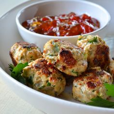 Healthy Thai Sesame Patties Recipe Main Dishes with green onions, parsley, garlic, fresh ginger, garlic powder, salt, ground pepper, red pepper flakes, ground turkey, toasted sesame seeds, soy sauce, eggs, sesame oil, canola oil