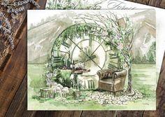 Лесная, природная тема-одна из самых популярных уже несколько свадебных сезонов. Серия свадебных эскизов для @sv_decor1 г. Красноярск