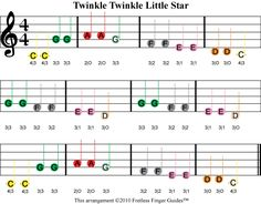 color coded free violin sheet music for Twinkle Twinkle Little Star