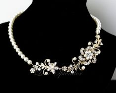 Gold Pearl Necklace Wedding Jewelry Vintage Flowers Leaves Rhinestone Bridal Necklace SABINE GARDEN