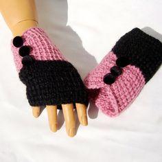 Pink Winter gloves Pink Fingerless Pink Black by RoseAndKnit