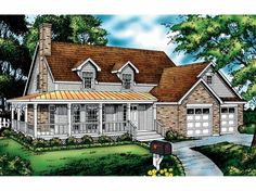 Country House Plan with 1875 Square Feet and 3 Bedrooms(s) from Dream Home Source   House Plan Code DHSW12455