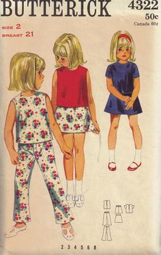 Vintage 1960s Toddler Girls Mod Skirt Pants and by PeoplePackages, $8.95