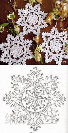 57 Ideas for knitting christmas decorations snowflake ornaments Crochet Snowflake Pattern, Crochet Stars, Christmas Crochet Patterns, Holiday Crochet, Crochet Snowflakes, Doily Patterns, Christmas Knitting, Thread Crochet, Crochet Motif