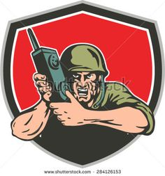 Buy World War Two American Soldier Field Radio Shield by patrimonio on GraphicRiver. Illustration of a World War two American soldier serviceman holding field radio walkie-talkie viewed from front set i. Soldier Field, American Soldiers, Military Art, Veterans Day, World War Two, Royalty Free Stock Photos, Artwork, Walkie Talkie