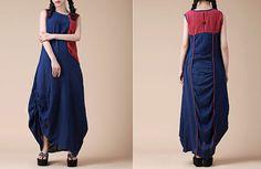 Vestidos maxi - Vestido Shift Loose Women Azul Empalme Maxi - hecho a mano por MissJuan en DaWanda