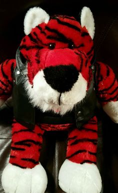 Super cute red and black striped plush tiger stuffed animal wearing a thermal shirt and biker jacket. | eBay!