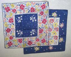 Vintage Handkerchiefs 1950s Blue Floral Set by SharetheLoveVintage, $25.00