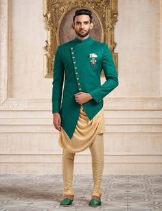 Terry rayon k green party indo western Wedding Kurta For Men, Wedding Dresses Men Indian, Wedding Dress Men, Wedding Suits, Wedding Wear, Mens Indian Wear, Indian Groom Wear, Indian Men Fashion, Mens Fashion Suits