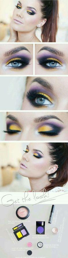 Purple and yellow eye makeup look #makeup #eyeart #yelloweyeshadow