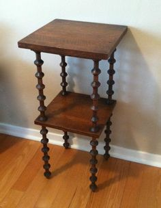 Antique Tramp Art Spool Leg Table 2 Shelf Quarter Sawn Oak Hall Stand Folk Vtg | eBay
