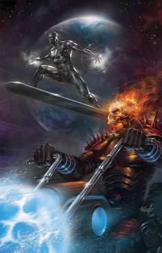 Ghost rider y Silver surfer (marvel) Marvel Dc Comics, Marvel Art, Marvel Heroes, Anime Comics, Captain Marvel, Avengers Art, Comic Book Characters, Marvel Characters, Comic Books Art