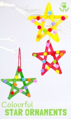 STAR ORNAMENTS - This colourful pom pom popsicle stick craft will look amazing hanging on your Christmas tree or as a bright and cheery star craft for a bedroom or nursery all year round. An easy and pretty Christmas craft for kids. #stars #starcraft #popsiclestickstars #popsiclestickcraft #christmascraft #popsiclestick #craftsticks #kidscrafts #craftideasforkids #kidschristmascrafts #easykidscrafts #easycrafts #kidsactivities #pompoms #pompomcraft via @KidsCraftRoom Kids Christmas Ornaments, Christmas Tree Crafts, Christmas Tree Decorations, Origami Christmas, Preschool Christmas, Christmas Star, Popsicle Stick Christmas Crafts, Christmas Crafts For Kids To Make, Popsicle Sticks