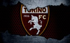 Descargar fondos de pantalla Torino, 4k, del arte, de la Serie a, fútbol, logotipo, club de fútbol, el Torino FC, de metal textura