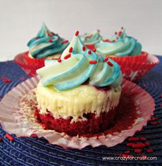 Red Velvet Cheesecake Cupcakes - the perfect easy cupcake recipe for any holiday! Homemade red velvet cake, cheesecake, and cream cheese frosting in one! Cupcake Recipes, Cupcake Cakes, Dessert Recipes, Candy Cakes, Dessert Ideas, Cake Ideas, Keto Recipes, Red Velvet Cheesecake Cupcakes, Velvet Cake