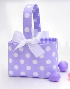 pictures of dots | Lavender Purple Polka Dot Easter basket by ladesigns2 on Etsy, $22.00