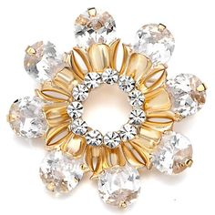 Pugster 22K Golden Plated Shinning Flower Topaz Yellow And Clear Swarovski Crystal Diamond Accent Brooches And Pins   Your #1 Source for Jewelry and Accessories