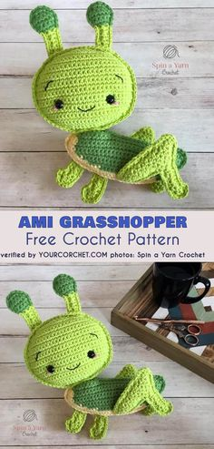 Amigurumi Grasshopper Free Crochet Pattern. This friendly grasshopper is so original and so cute that no one will be able to resist. Great news for beginners. This grasshoper is perfectly suitable for a first ami project, because almost everything in the pattern is made of single crochets. #freecrochetpattern #crochetpattern #amigurumipattern #crochettoy