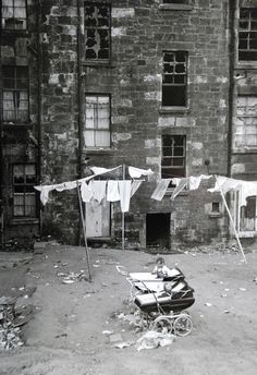 Prams and washing out the back of  tenement, Glasgow 1968
