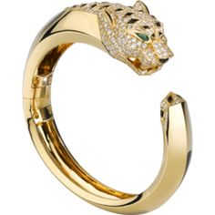 Cartier Panthère Yellow Gold Bracelet in 18K yellow gold with panther head motif, head and tail paved with diamonds, onyx nose, spots and tail, emerald eyes.