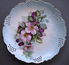 Wild Roses and  Blackberry Plate Ceramic Art.