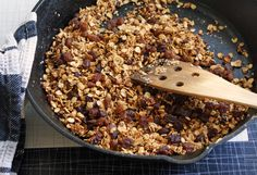 5 minute Skillet Granola: 1 cup old-fashioned (large flake) oats 1/4 cup sesame seeds, and/or hemp seeds, and/or flax seeds 1 Tbsp. butter 2 Tbsp. honey or golden syrup (such as Roger's or Lyle's) a shake of cinnamon a pinch of salt (optional) a handful of raisins or dried fruit (optional) Put everything into a large, heavy skillet (cast iron is perfect) set over medium-high heat. Cook, stirring often, for about 5 minutes,