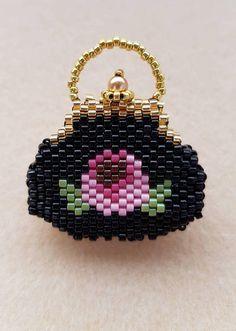 Miniature beaded purse decorative ornament 3D mini handbag