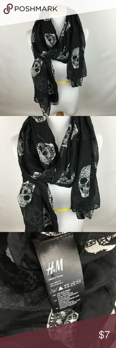H & M black and white skull scarf H & M black and white skull scarf. Gently worn. Accessories Scarves & Wraps