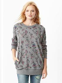 Floral cocoon sweatshirt tunic