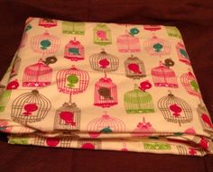 Birds in Birdcages on Cream Receiving Blanket Double sided Over sized | bitspeaces - Children's on ArtFire