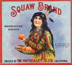 Rialto CA, Squaw Brand fruit crate label