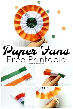 Indian Flag Paper Fans Printable Indian Flag Paper Fans Printable – a great paper craft for India Independence Day or India Republic day. Make this printable Indian Flag Decoration or handheld paper fan for kids Independence Day Activities, Independence Day Decoration, Indian Independence Day, Happy Independence, India For Kids, Peacock Crafts, India Crafts, Culture Day, Indian Flag