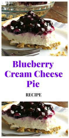 Whip up a dreamy no bake blueberry dessert, aka blueberry delight, with cream cheese, Dream Whip, bl Blueberry Desserts, Köstliche Desserts, Delicious Desserts, Dessert Recipes, Blueberry Cheesecake, Easy Blueberry Pie, Blueberry Cream Cheese Pie, Cream Cheese Desserts, Cheese Pie Recipe