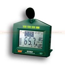 http://handinstrument.se/ljudmatare-r527/ljudnivamatare-med-visuellt-larm-53-SL130G-r562  Ljudnivåmätare med visuellt larm  Vägg-, skrivbords- eller stativfäste med extra 5m förlängningskabel för mikrofon vid fjärrövervakning  Röda blinkande eller gröna starka LEDs kan avläsas från 30m avstånd  Kontinuerlig övervakning av ljudnivå i 3 områden: 30 till 80 dB, 60 till 110dB, 80 till 130 dB  Justerbar hög eller låg gräns (30 till 130 dB) med utgång för att driva extern relämodul...