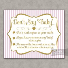 Don't Say Baby Shower Game - Pink & Gold Glitter - Printable Pink Baby Shower Games - Instant Download - PGL