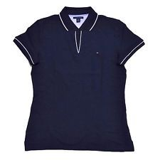 NWT Tommy Hilfiger Womens Solid Emma Cotton Polo Shirt NEW MASTERS NAVY Medium