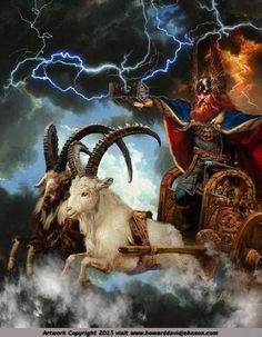 Norse Myths and Legends: Illustrations of Norse Mythology; Mythic Norse Art by Contemporary American Artist Howard David Johnson thor chariot goats Rune Viking, Viking Art, Viking Warrior, Viking Woman, Mythological Creatures, Mythical Creatures, Thor Norse, Symbole Viking, Arte Nerd