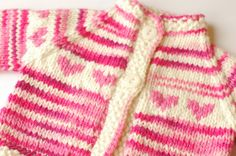 Easy Care Baby Cardigan in Soft Washable Wool, Pink Hearts Fair Isle, Sized for 6 to 9 Months on Etsy, $44.48