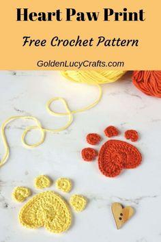 Crochet Paw Print, Heart Paw Print – GoldenLucyCrafts Crochet Heart Paw Print, crochet paw print, do Crochet Gratis, All Free Crochet, Easy Crochet Patterns, Irish Crochet, Crochet Motif, Crochet Designs, Crochet Yarn, Crochet Appliques, Crochet For Dogs