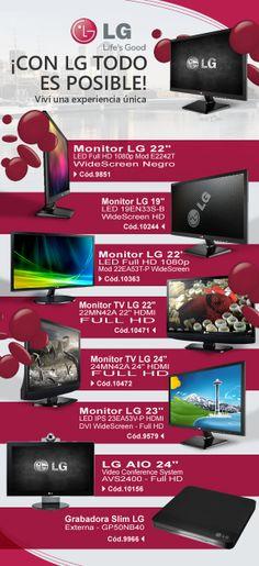 #LG #Monitores #GrabadoraSlim www.gvinforamtica.com.ar @GV Informatica #GV