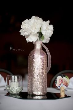 Wedding Centerpiece, sparkly wine bottle. I really really like this, but with hot pink instead:-)