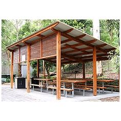 Landmark Products' Peninsula range of skillion roof shelters for Newcastle City Council Carport Designs, Pergola Designs, Carport Ideas, Carport Garage, Flat Roof Shed, Barn Style Shed, House Cladding, House Blinds, Carports