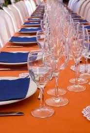 orange and blue table settings - Google Search