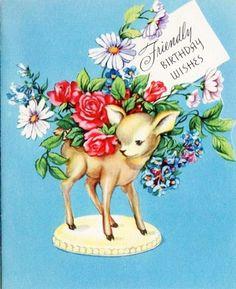 Darling!! vintage birthday card deer & flowers