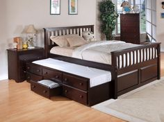 Best Quality Cappuccino Full Storage Bed with Drawer and Trundle K2049