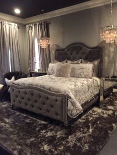 My new bedroom 😉 Tufted Bed Extra Tall Headboard Footboard Rails King Charcoal Tall Headboard, Tufted Bed, Upholstered Beds, Tufted Headboards, Headboard Ideas, Headboard And Footboard, Black Headboard, Wingback Headboard, Glam Bedroom