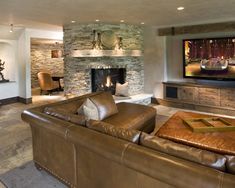 Basement Design, Pictures, Remodel, Decor and Ideas page 1. Checkout the Fireplace. My favorite so far. Love this layout<3