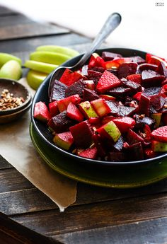 Marinated Beet and Apple Salad with banana peppers and pecans.
