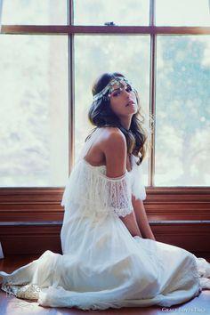 bohemian gipsy lace off shoulder long white dress, hair ornament