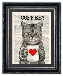 Items similar to Cat with Coffee, Kitchen Art Print, Dictionary Art Print, Cat Wall Art, Funny Cat Print on Etsy Right Meow, Dictionary Art, Cat Wall, Kitchen Art, Funny Cats, Vibrant Colors, Kitten, Art Prints, Wall Art